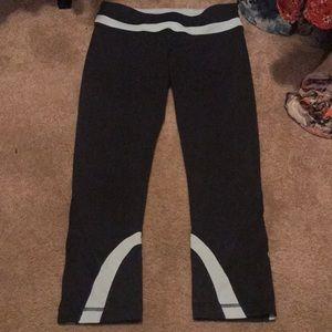 Lulu speed tights charcoal and baby blue EUC